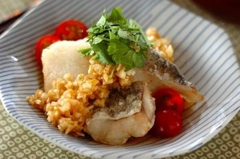 白身魚のネギソース