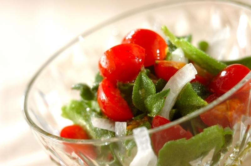 透明の器に盛り付けたアイスプラントとトマトのサラダ