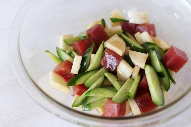漬けまぐろと長いもきゅうりの和えサラダの作り方の手順3