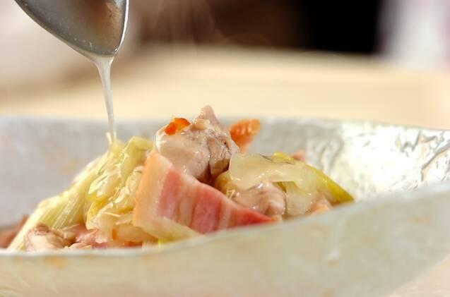干し白菜と鶏もも肉のあんかけの作り方の手順8