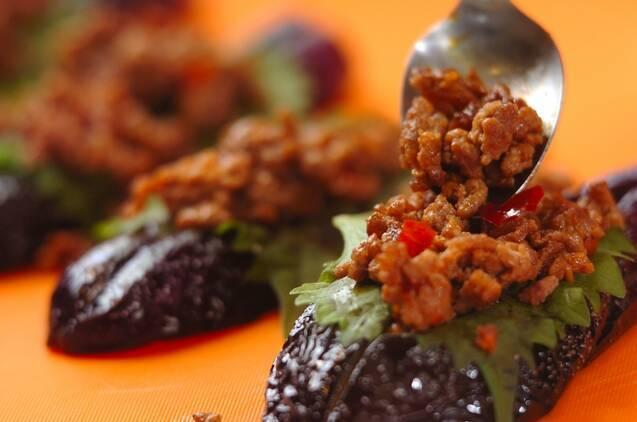 揚げナスのひき肉と大葉はさみの作り方の手順4