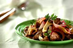 鶏レバーとエリンギのバルサミコソテー