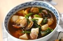 アサリと豆腐のピリ辛スープ