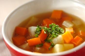 サイコロ野菜の食べるスープ