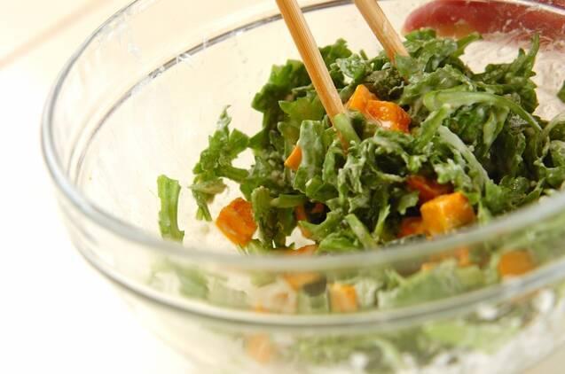 春菊とカボチャのかき揚げの作り方の手順5