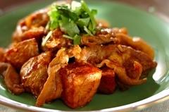 新ジャガと豚肉の中華炒め