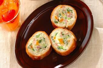 菜の花ポテトサラダのスタッフドバゲット