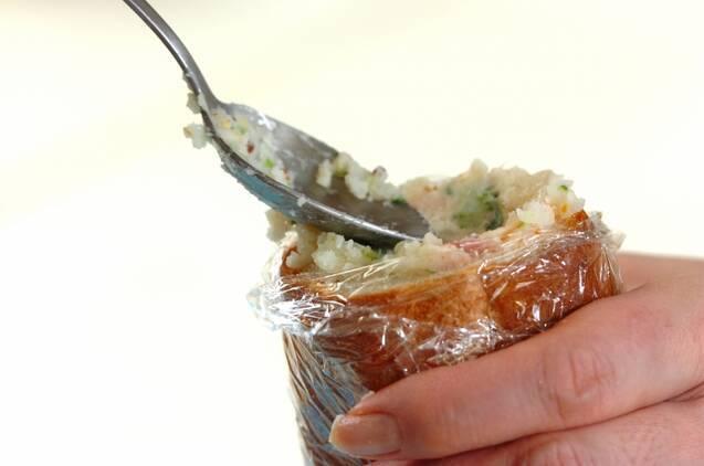 菜の花ポテトサラダのスタッフドバゲットの作り方の手順7