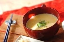 かきたまの豆乳コーンスープ