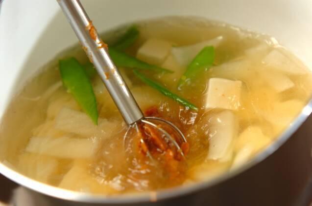 キヌサヤと豆腐のみそ汁の作り方の手順5