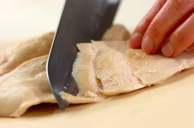鶏むね肉の酒蒸しゴマダレかけの作り方の手順5