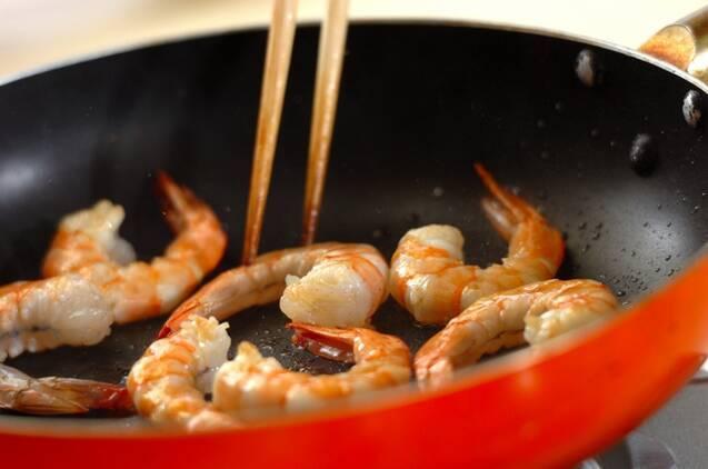 エビのトマトクリームパスタの作り方の手順4