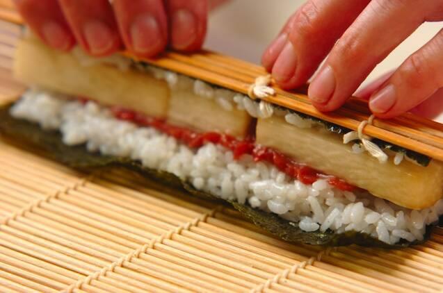 長芋と漬け物の細巻きの作り方の手順7