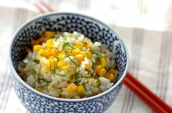 トウモロコシと大葉のご飯