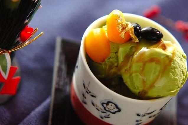 抹茶と黒豆のパフェ