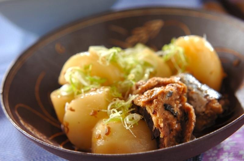和食器に盛られたネギをトッピングしたかぶとサバ缶の煮物