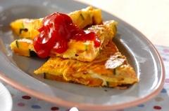 カボチャとベーコンの卵焼き