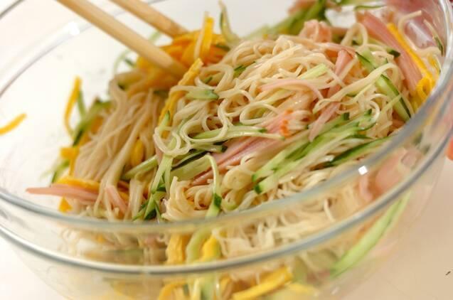 中華風素麺サラダの作り方の手順3