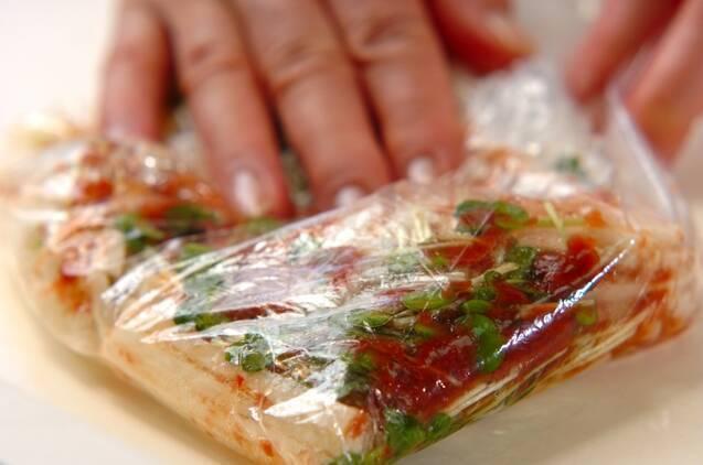 長芋と貝われ菜の梅サラダの作り方の手順3
