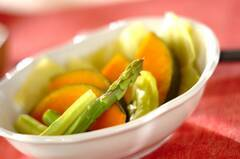 蒸し野菜のネギダレ