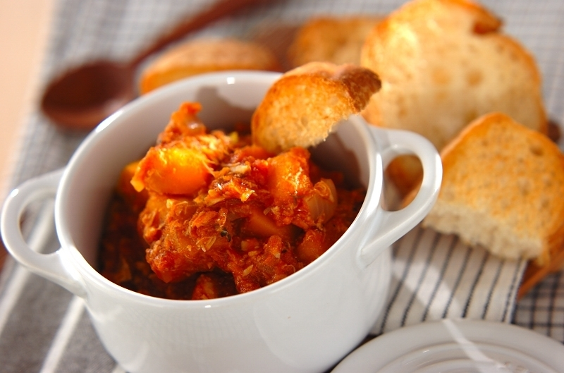 鯖とカボチャのトマト煮