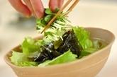 ワカメと貝われ菜のグリーンサラダの作り方1
