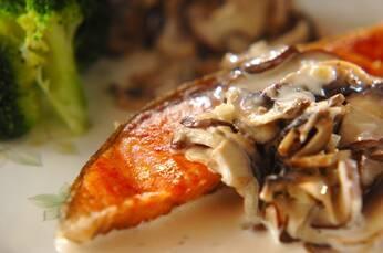 鮭のソテーキノコソース