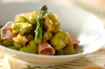 グリーンアスパラとソラ豆のサッと煮
