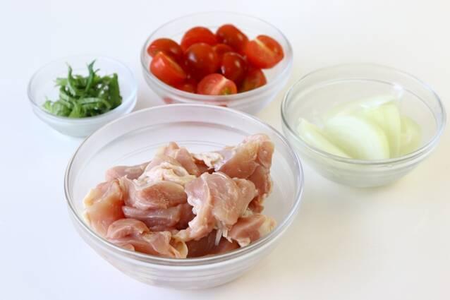 鶏肉とミニトマトの甘酢炒めの作り方の手順1