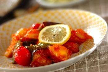 白身魚のレモンケチャップ炒め