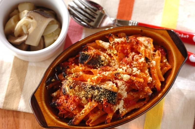 4.塩サバとトマトソースのペンネグラタンの献立
