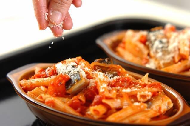 塩サバとトマトソースのペンネグラタンの献立の作り方の手順7