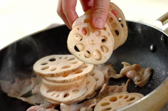 レンコンと豚肉のきんぴらの作り方の手順2
