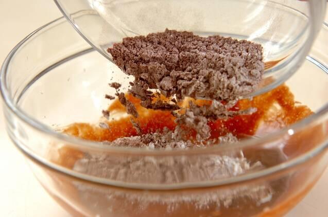 レンジで簡単チョコスポンジのケーキの作り方の手順4