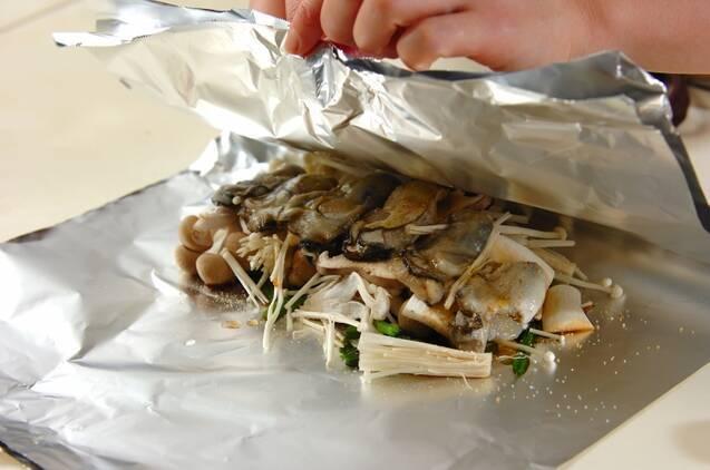 カキとキノコのホイル焼きの献立の作り方の手順6