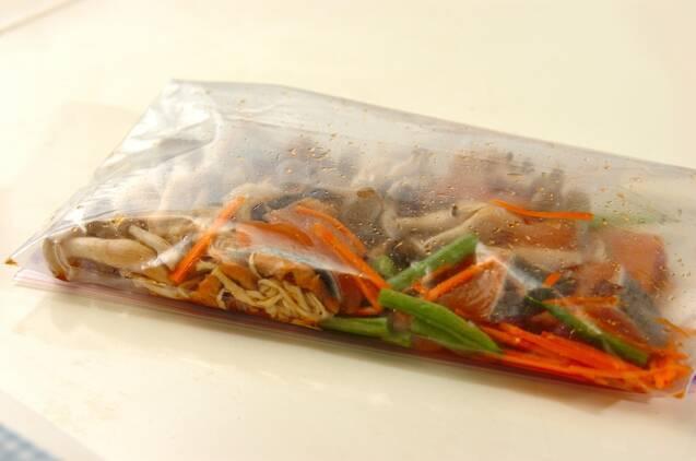 下味冷凍で鮭と切干し大根の炒め煮の作り方の手順3