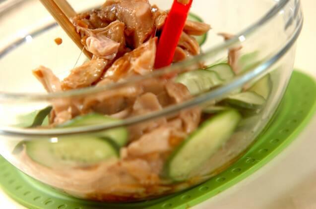 鶏とキュウリの納豆サラダの作り方の手順3