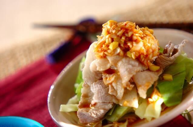 キャベツと豚肉の中華和え