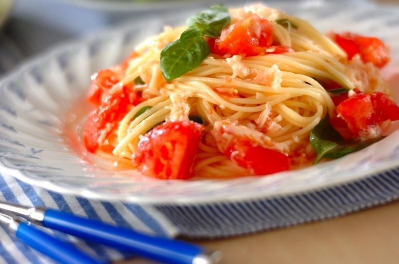 美味しそうなトマトと貝柱の冷製パスタ・スパゲッティー