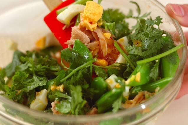 スナップエンドウの卵サラダの作り方の手順3