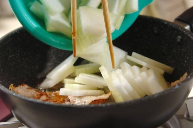 冬瓜と豚バラのみそ炒めの作り方の手順3