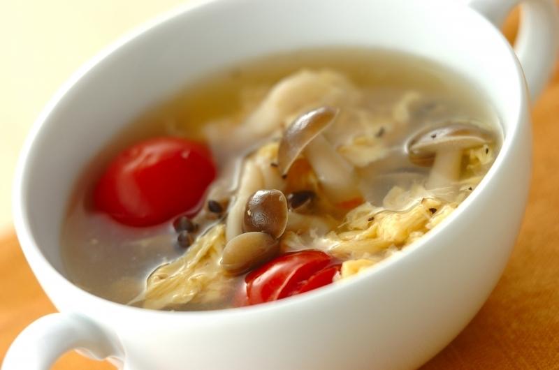 プチトマトときのこの卵スープ