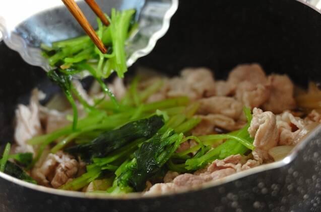 豚とミツバの卵とじの作り方の手順4