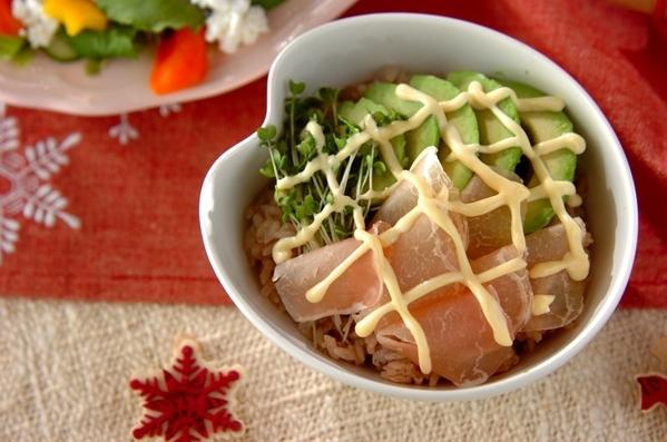 1.生ハムのチラシ寿司