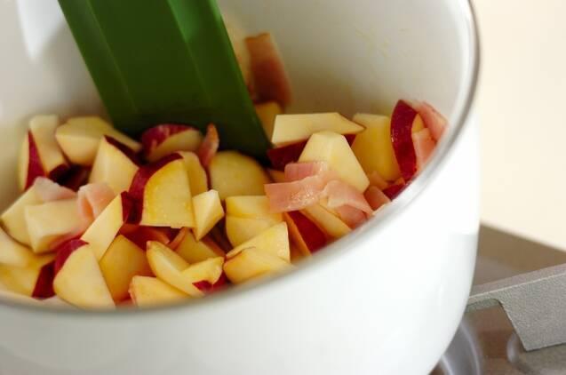 サツマイモのミルクみそ汁の作り方の手順3
