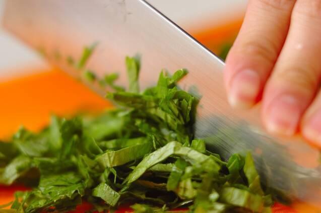 セロリの菜飯の作り方の手順1