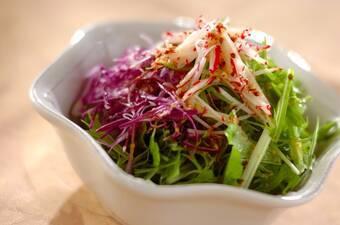 水菜と紫キャベツのハチミツドレッシング