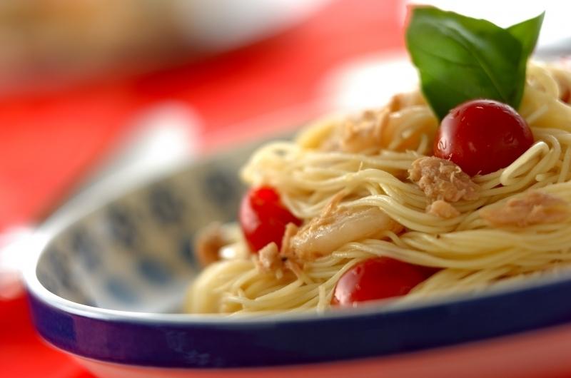 トマトとホタテの冷製カッペリーニの画像
