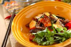 牛肉とカボチャのピリ辛炒め
