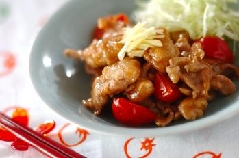 豚肉とトマトのショウガ焼き